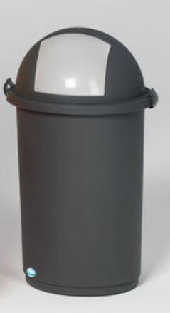 VAR Kunststoff-Abfallbehälter mit Einwurfkappe, 50L, grau/anthrazit